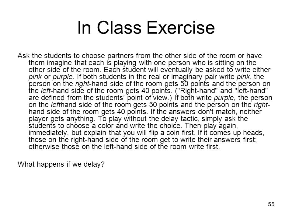 In Class Exercise