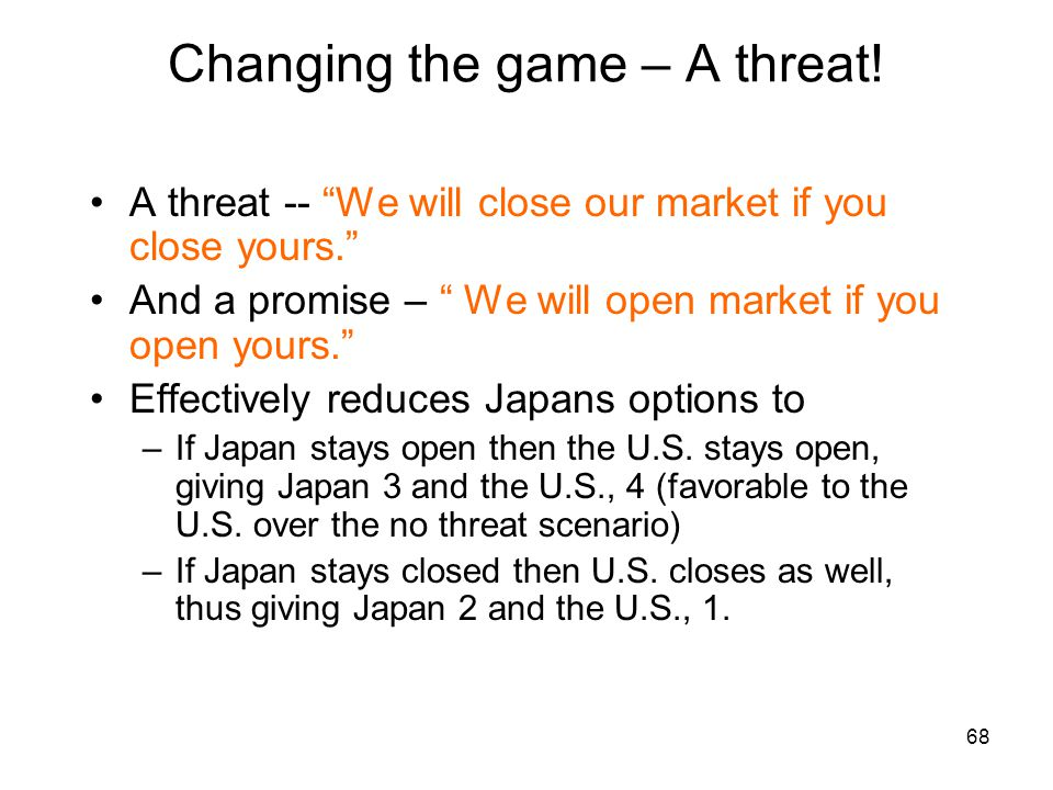 Changing the game – A threat!