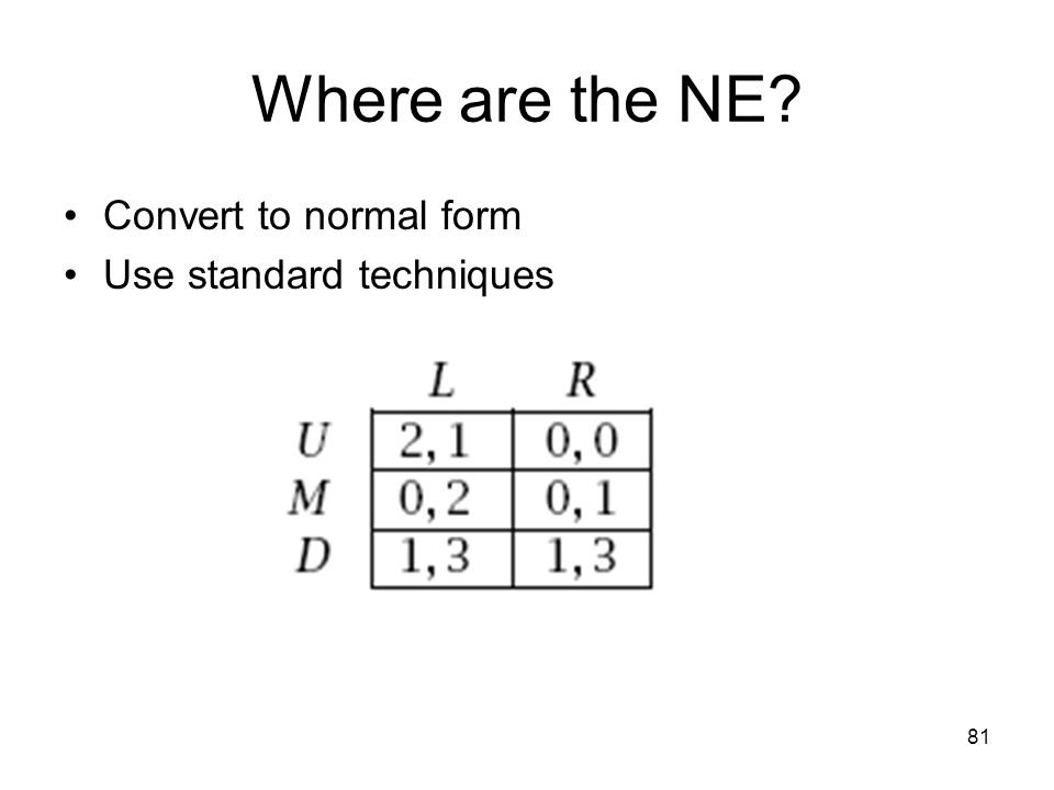 Where are the NE Convert to normal form Use standard techniques