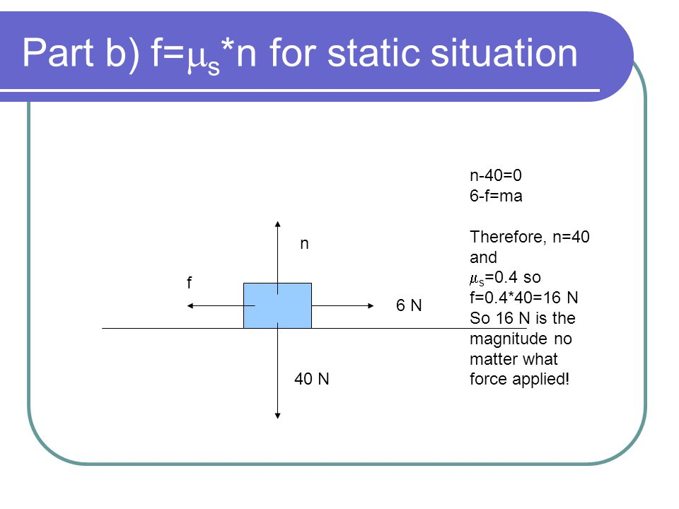 Part b) f=ms*n for static situation