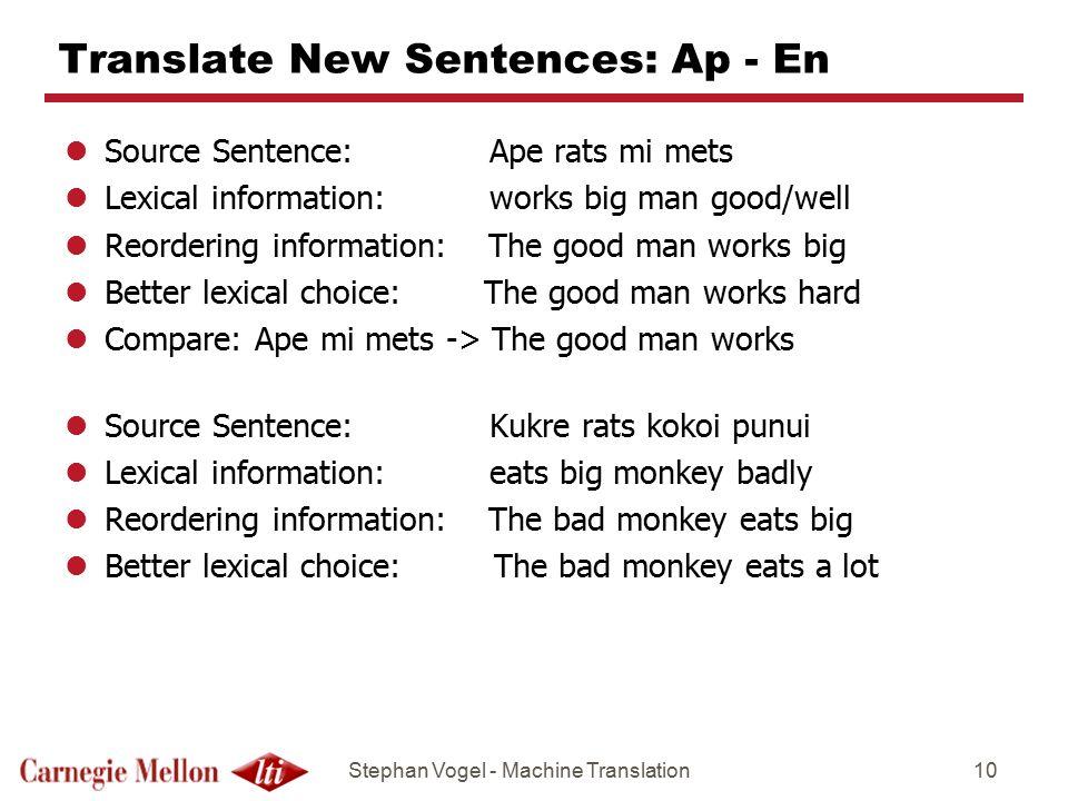 Translate New Sentences: Ap - En
