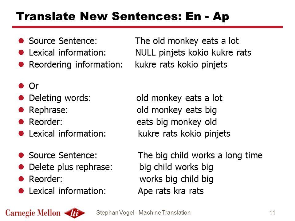 Translate New Sentences: En - Ap