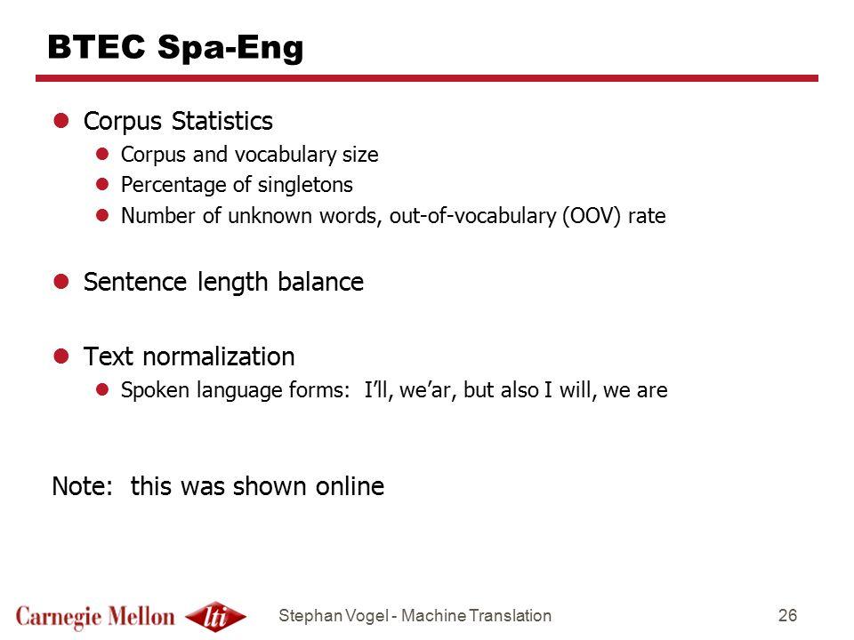 BTEC Spa-Eng Corpus Statistics Sentence length balance