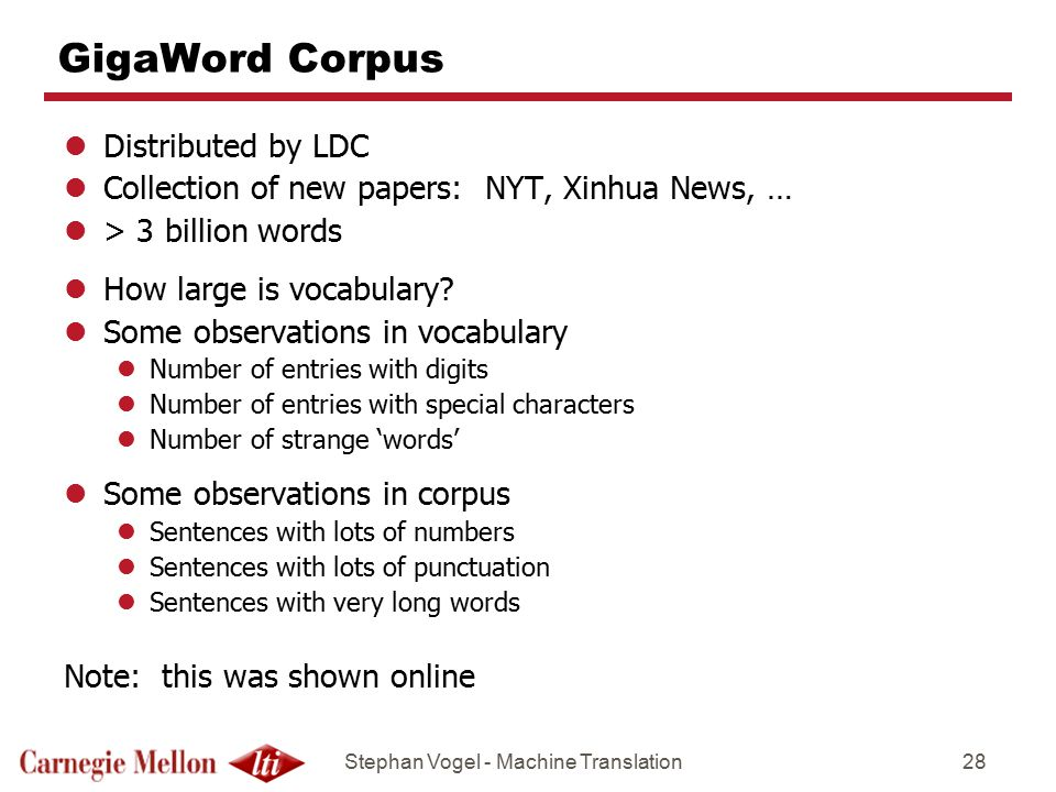 GigaWord Corpus Distributed by LDC