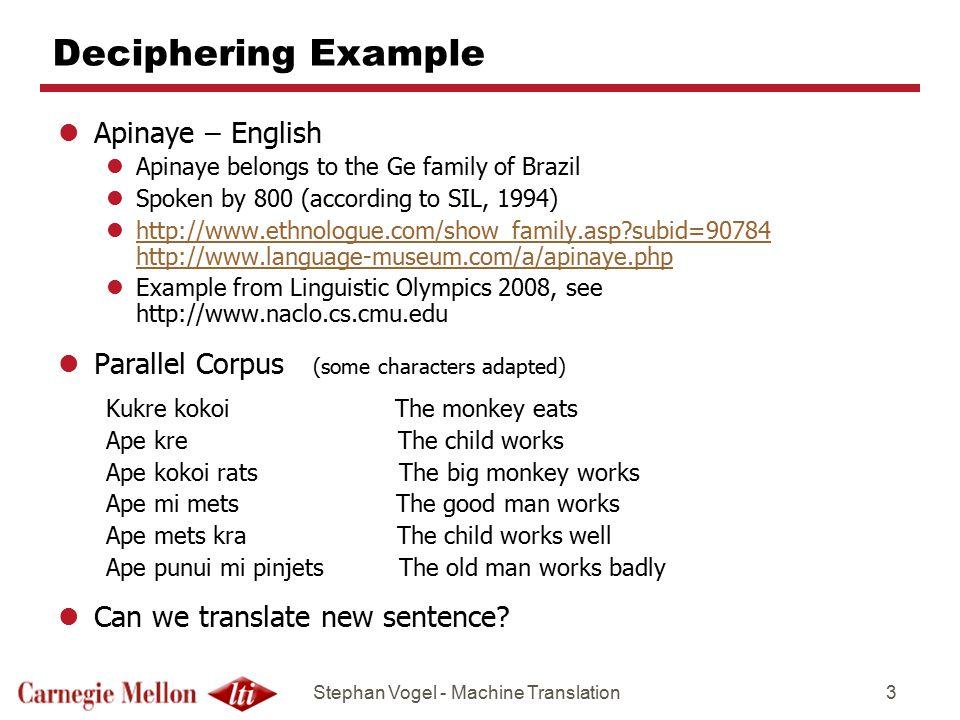 Deciphering Example Apinaye – English