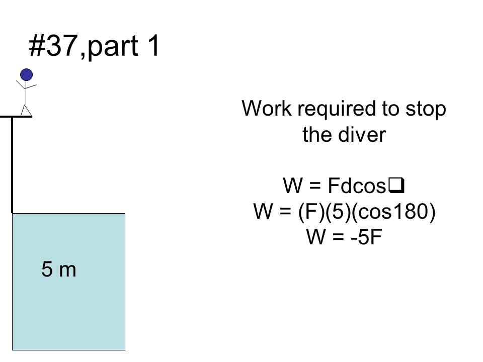 #37,part 1 Work required to stop the diver W = Fdcosq