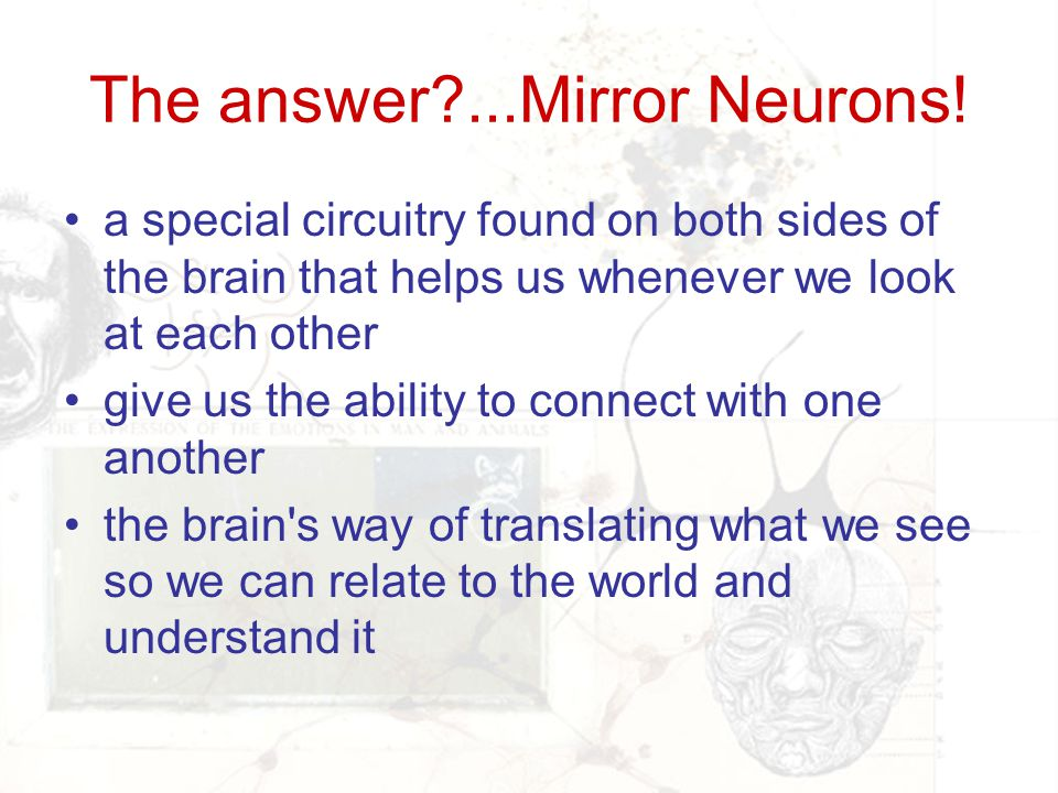 The answer ...Mirror Neurons!
