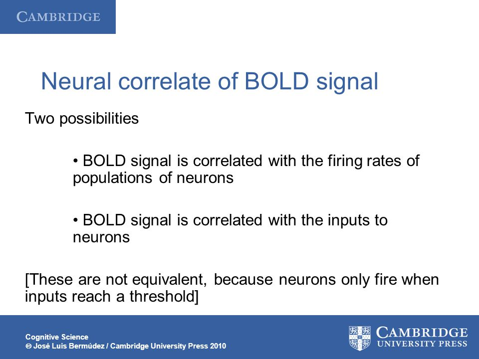 Neural correlate of BOLD signal