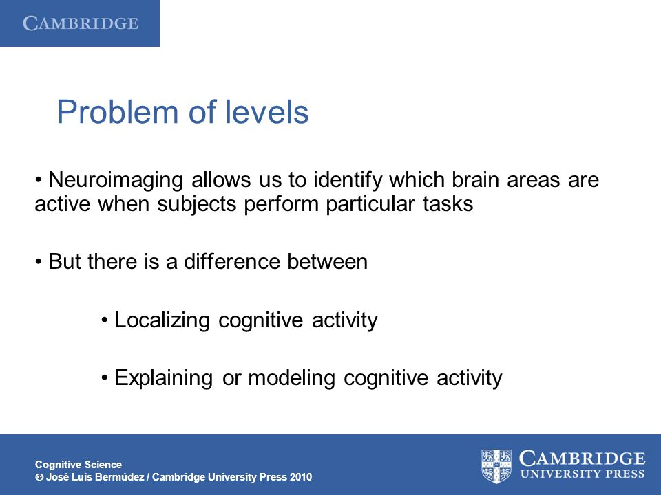 Problem of levels • Neuroimaging allows us to identify which brain areas are active when subjects perform particular tasks.