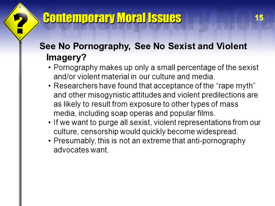 See No Pornography, See No Sexist and Violent Imagery