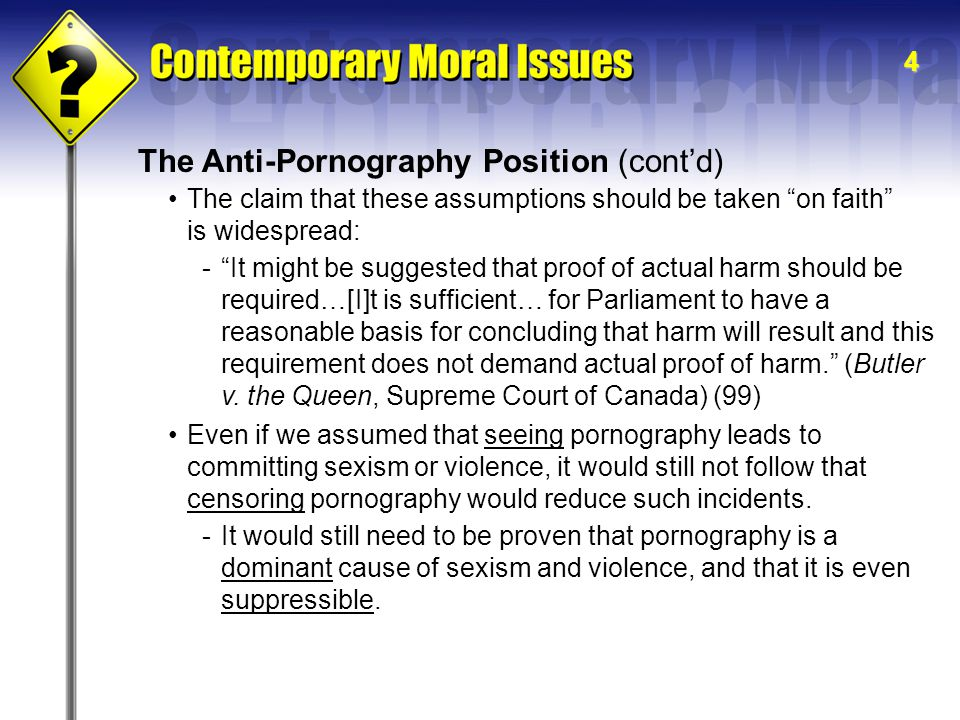 The Anti-Pornography Position (cont'd)