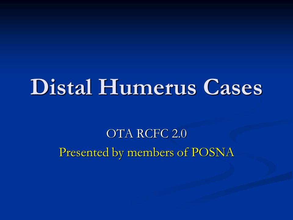 OTA RCFC 2.0 Presented by members of POSNA