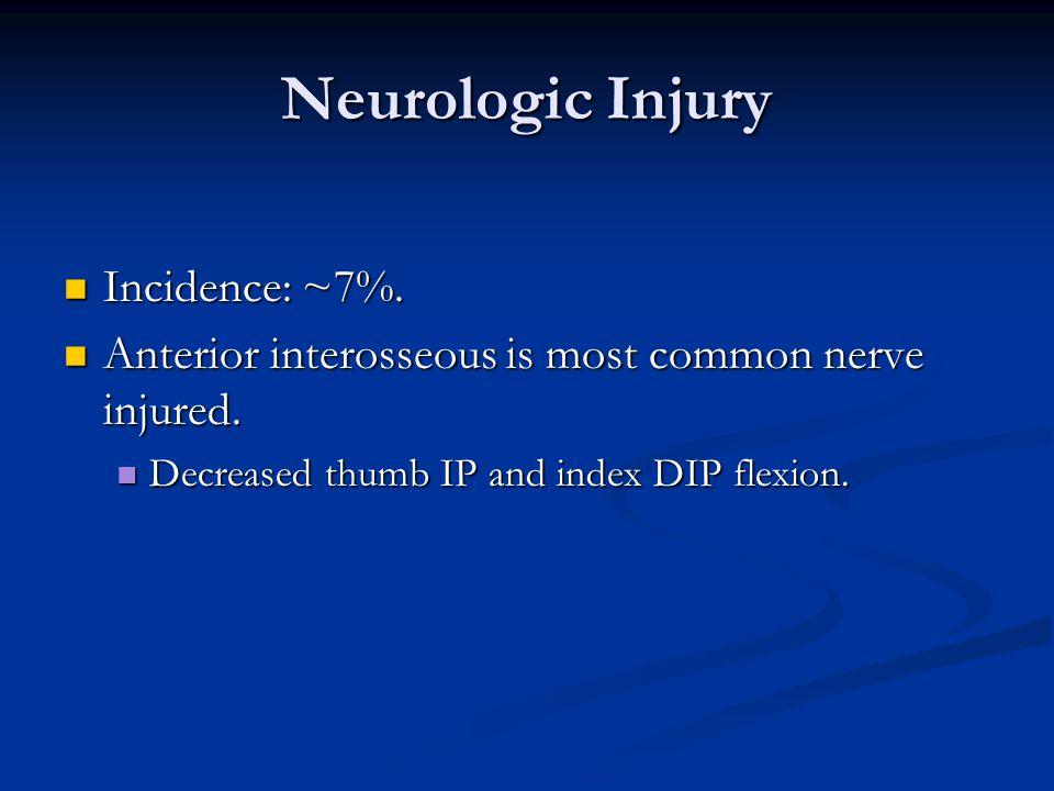Neurologic Injury Incidence: ~7%.