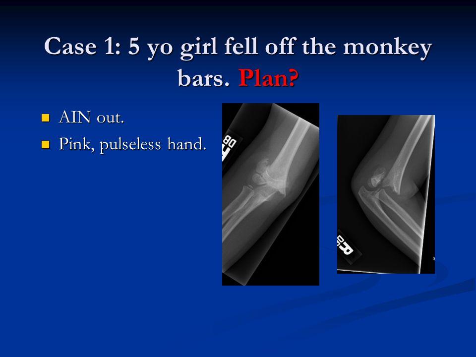 Case 1: 5 yo girl fell off the monkey bars. Plan