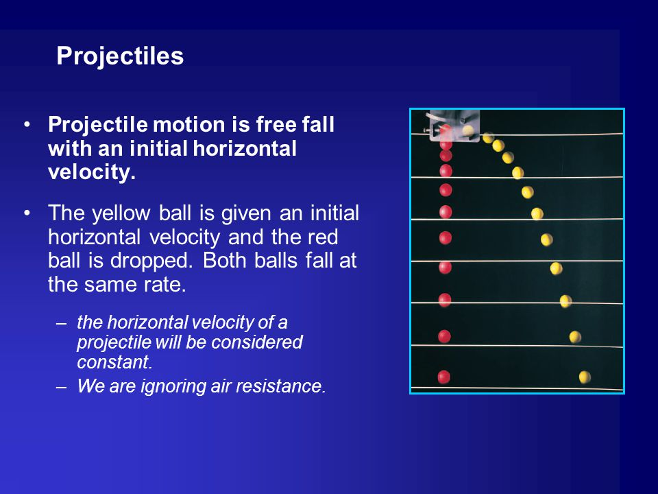 Projectiles Projectile motion is free fall with an initial horizontal velocity.
