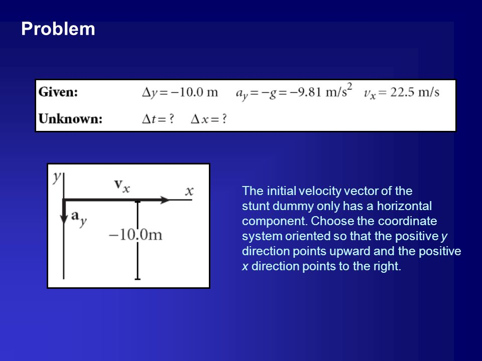 Problem The initial velocity vector of the. stunt dummy only has a horizontal. component. Choose the coordinate.