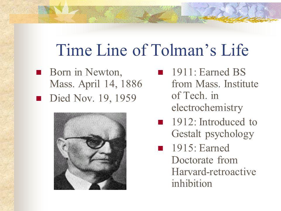 Time Line of Tolman's Life