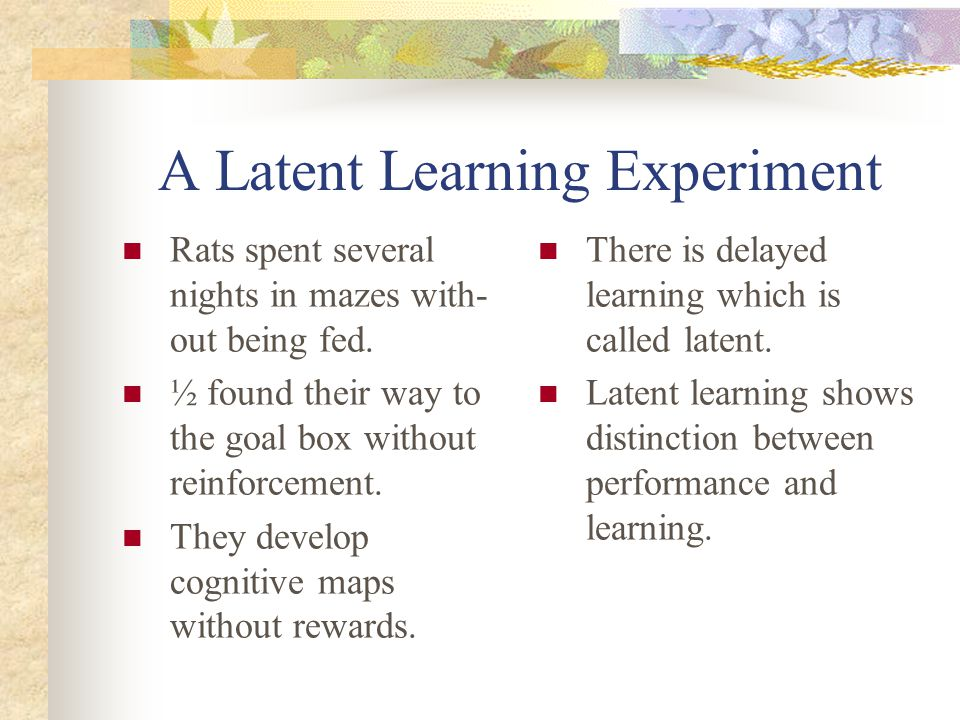 A Latent Learning Experiment