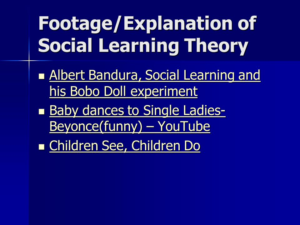 Footage/Explanation of Social Learning Theory