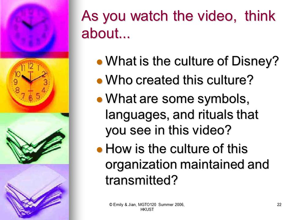 As you watch the video, think about…