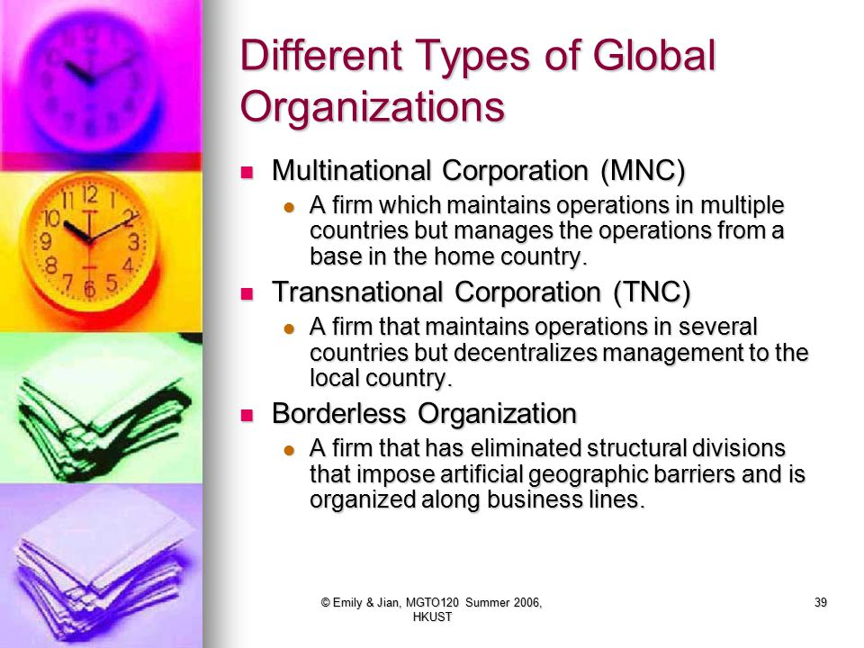 Different Types of Global Organizations
