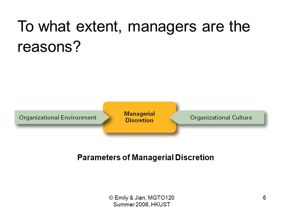 Parameters of Managerial Discretion