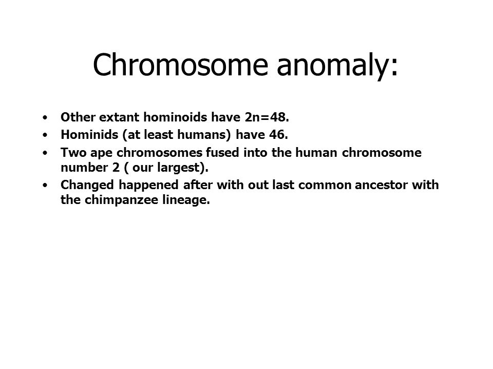 Chromosome anomaly: Other extant hominoids have 2n=48.