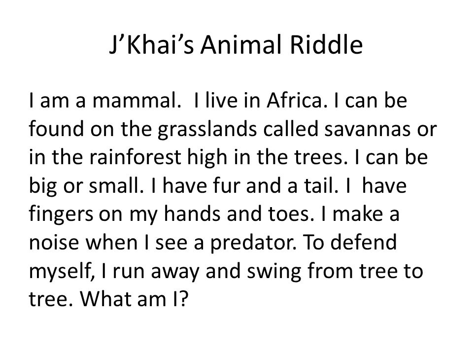 J'Khai's Animal Riddle