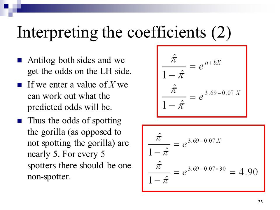 Interpreting the coefficients (2)