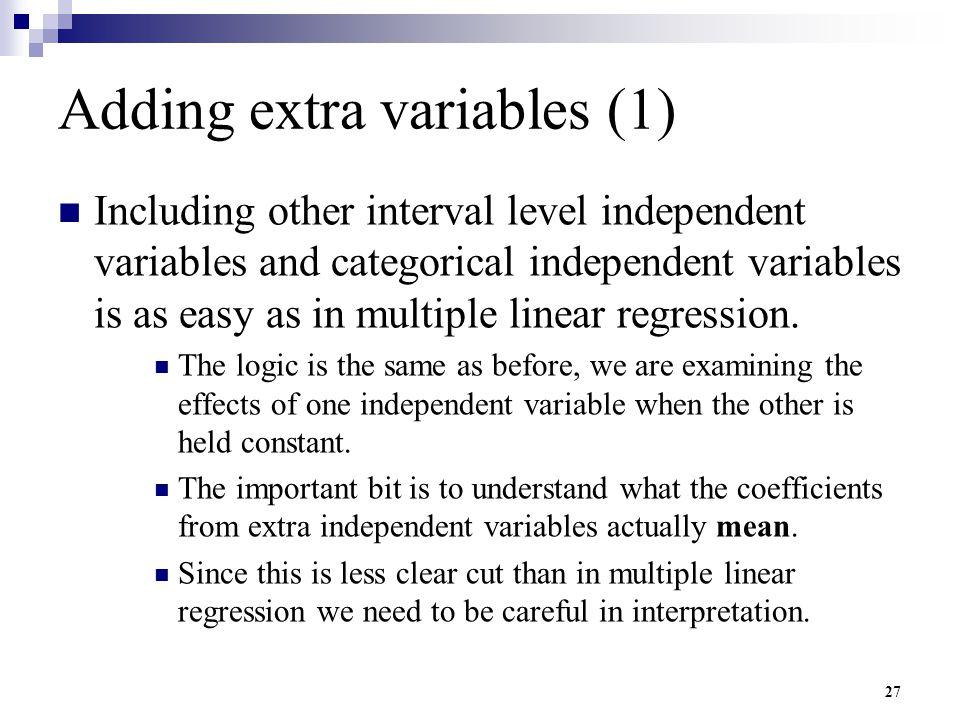 Adding extra variables (1)