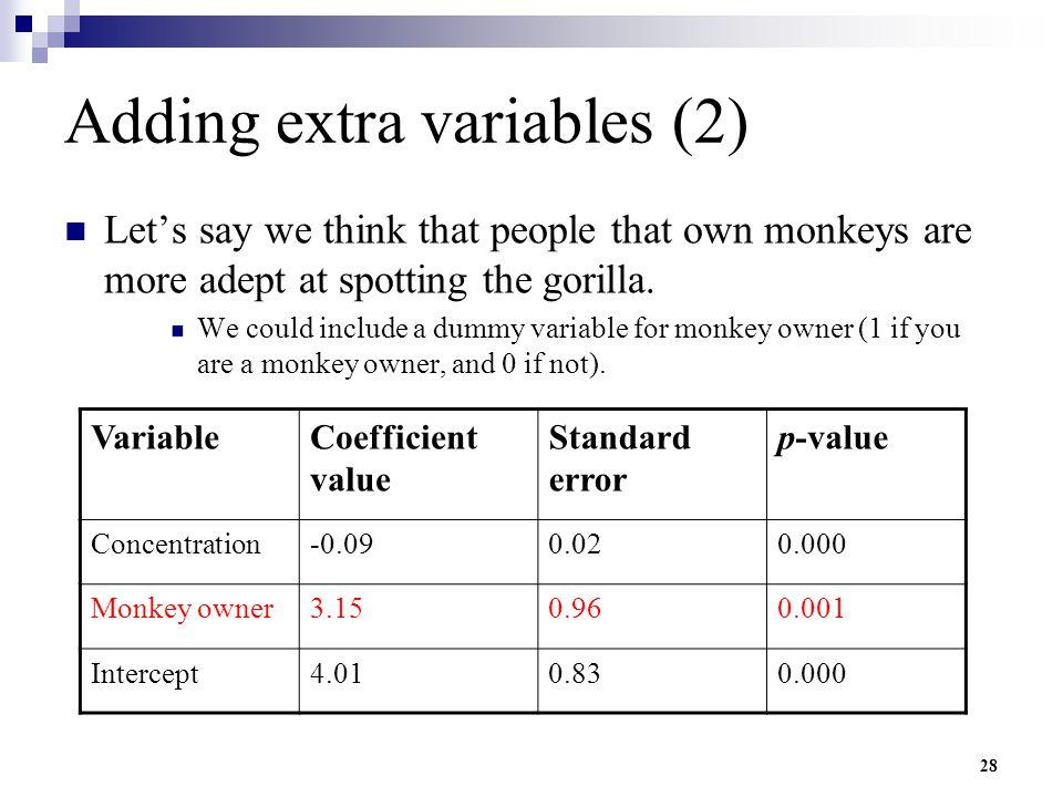 Adding extra variables (2)