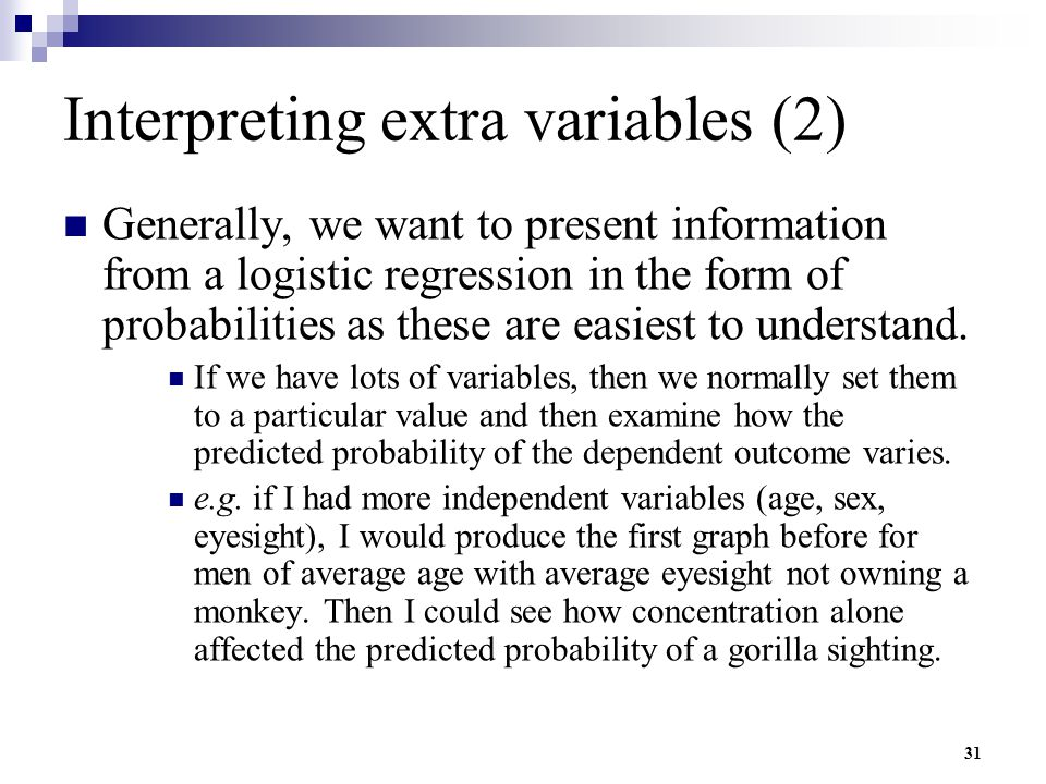 Interpreting extra variables (2)