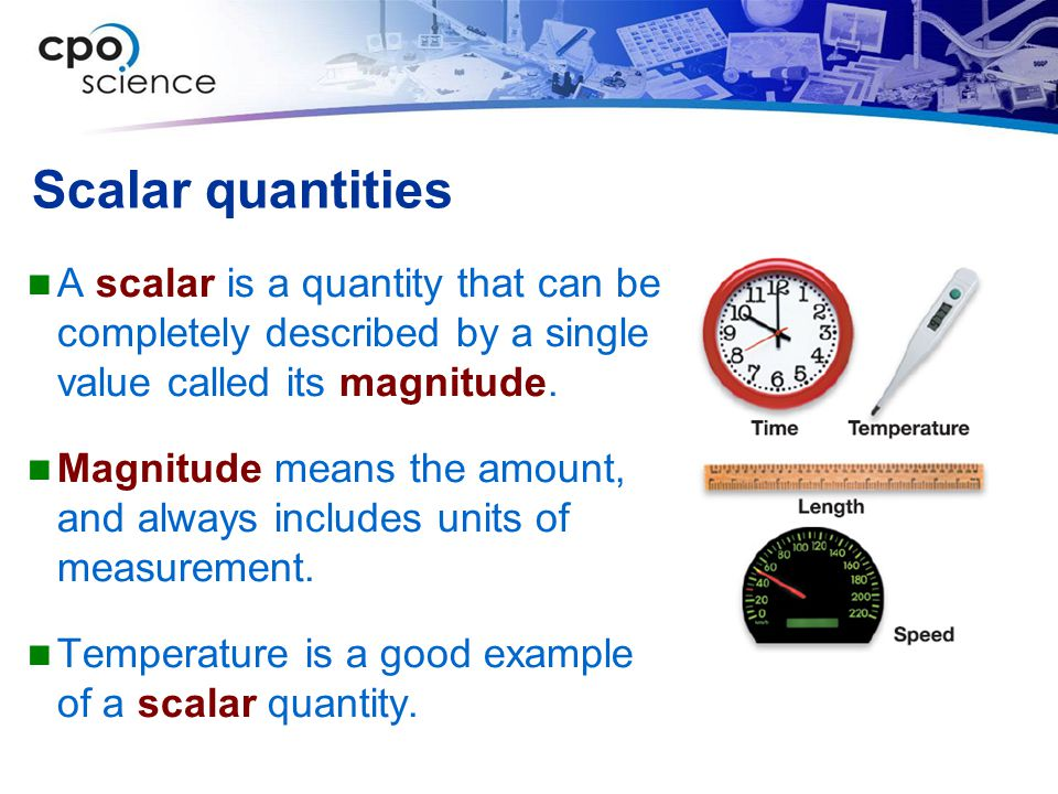 Scalar quantities A scalar is a quantity that can be completely described by a single value called its magnitude.