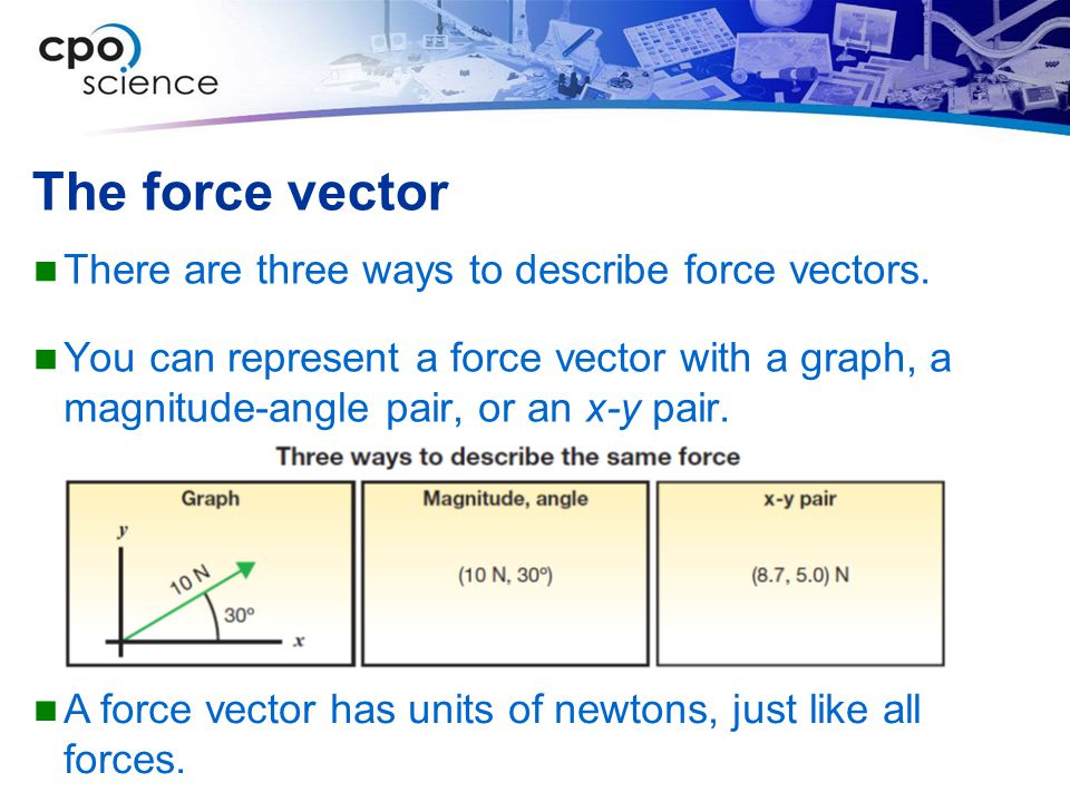 The force vector There are three ways to describe force vectors.