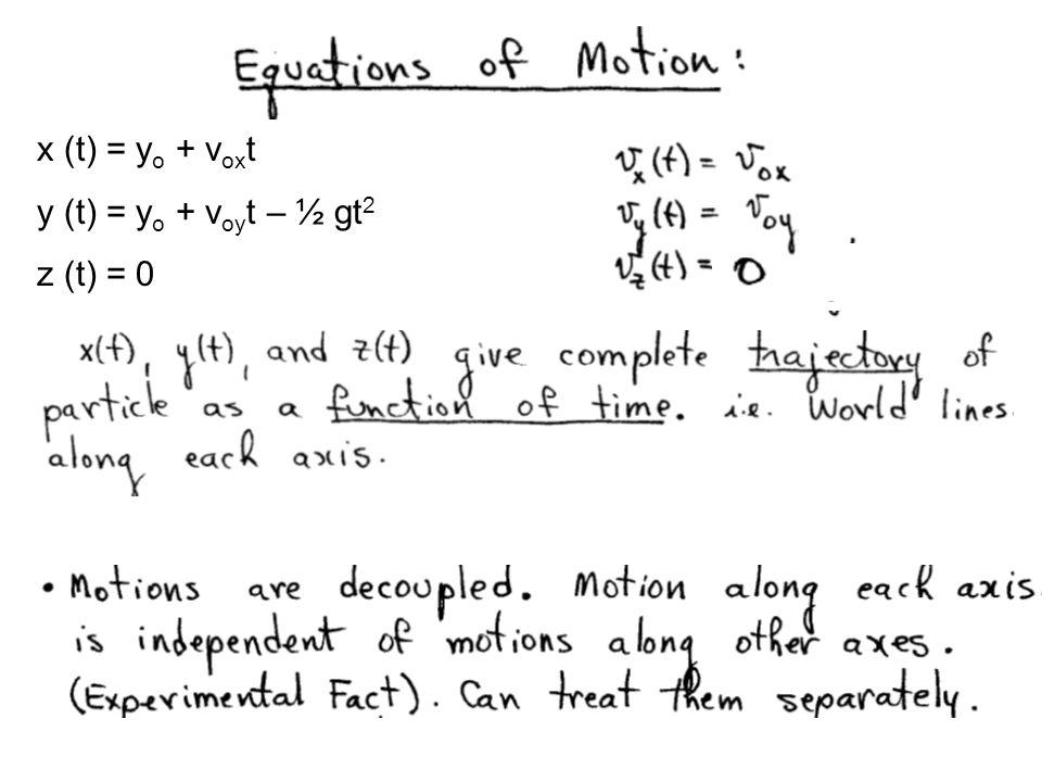 x (t) = yo + voxt y (t) = yo + voyt – ½ gt2 z (t) = 0