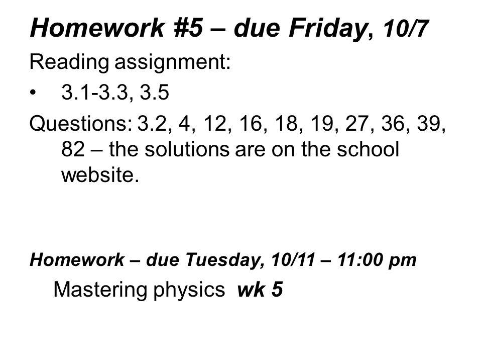 Homework #5 – due Friday, 10/7