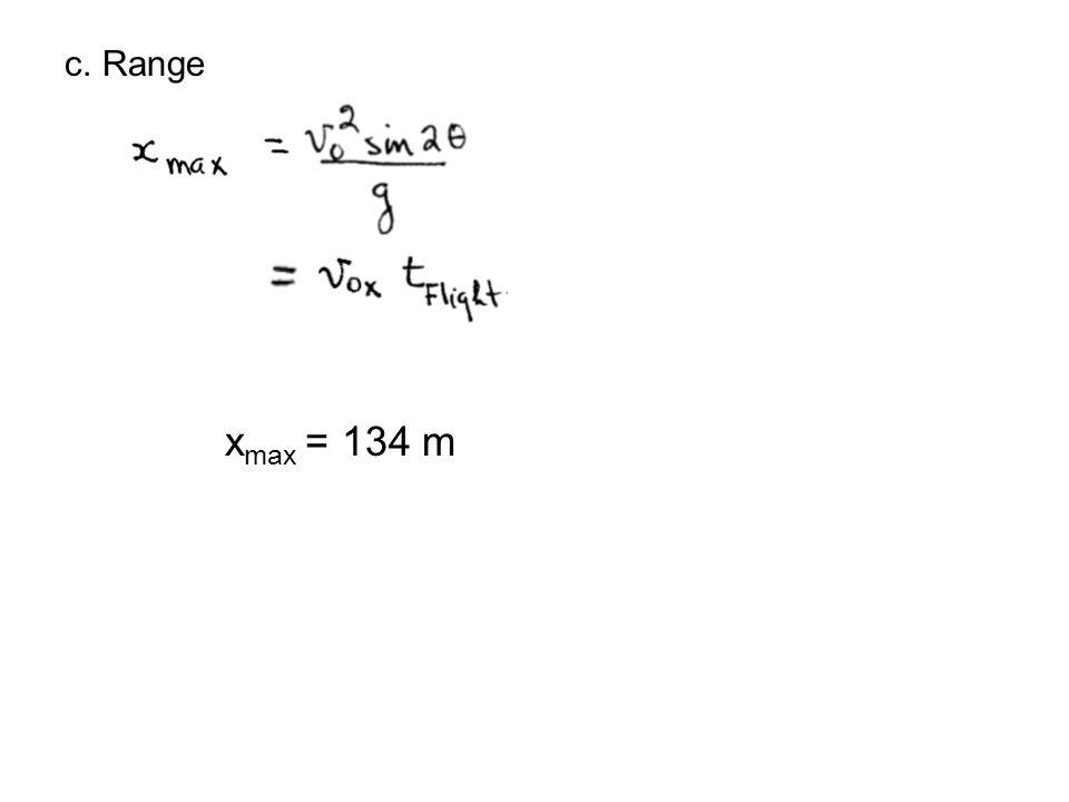 c. Range xmax = 134 m