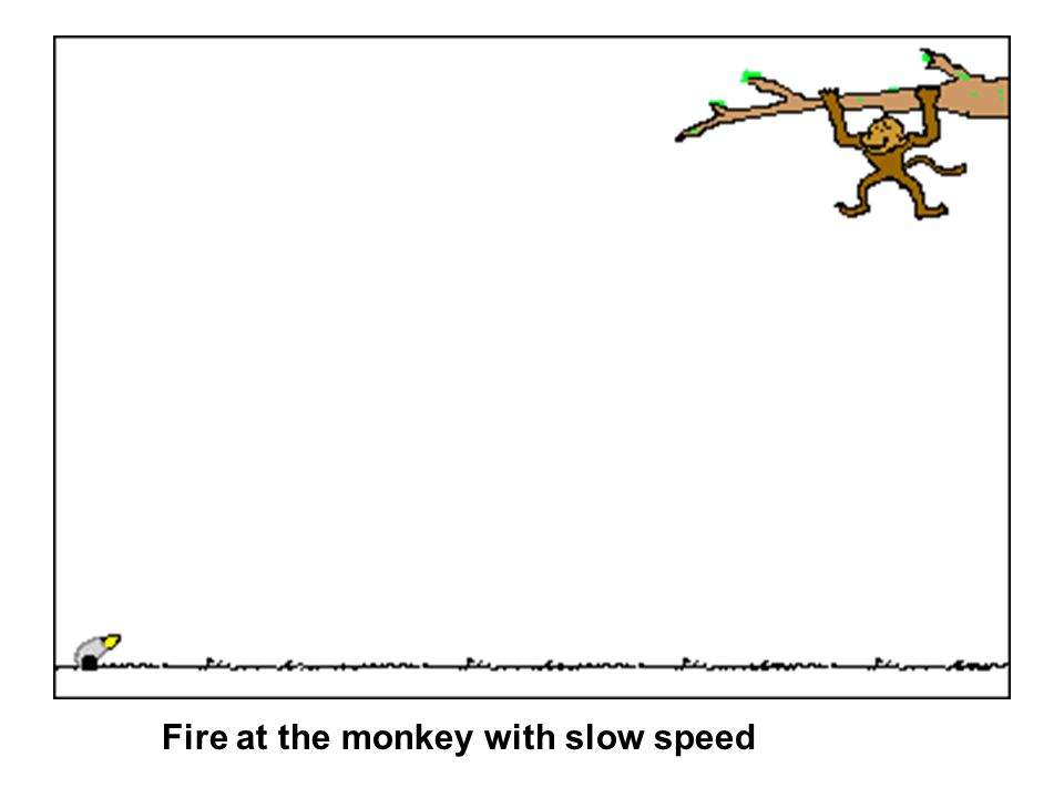 Fire at the monkey with slow speed
