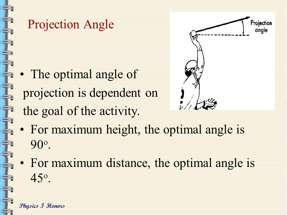 Projection Angle The optimal angle of. projection is dependent on. the goal of the activity. For maximum height, the optimal angle is 90o.