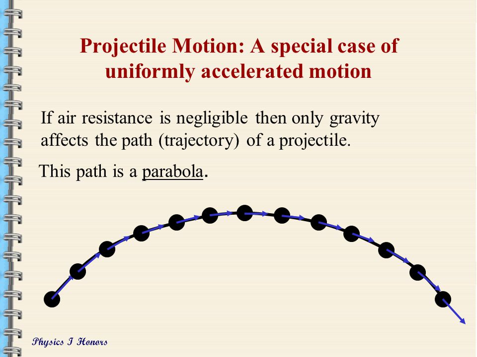 Projectile Motion: A special case of uniformly accelerated motion