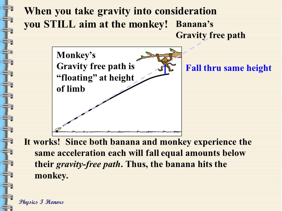 When you take gravity into consideration you STILL aim at the monkey!
