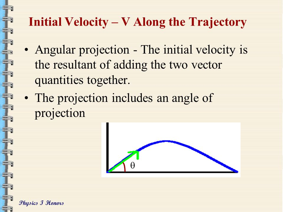 Initial Velocity – V Along the Trajectory