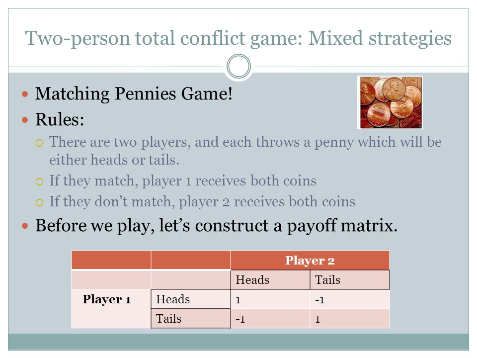 Two-person total conflict game: Mixed strategies
