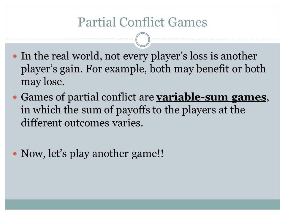 Partial Conflict Games