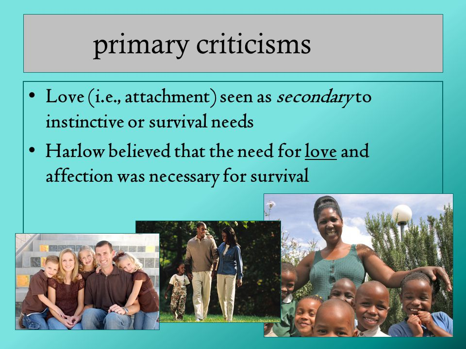 primary criticisms Love (i.e., attachment) seen as secondary to instinctive or survival needs.