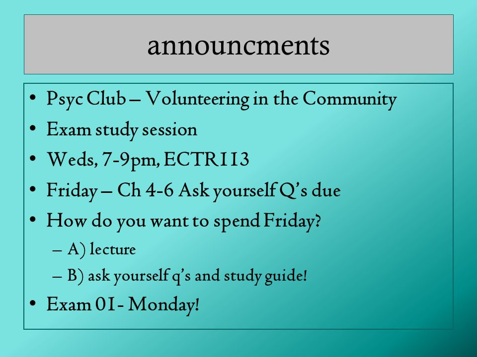 announcments Psyc Club – Volunteering in the Community