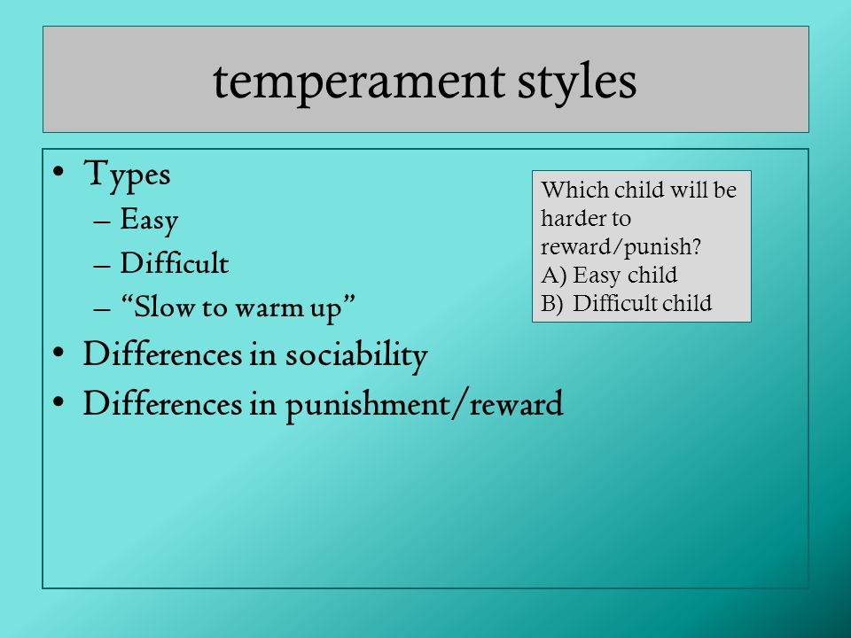 temperament styles Types Differences in sociability