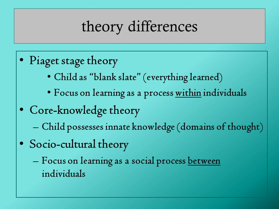 theory differences Piaget stage theory Core-knowledge theory