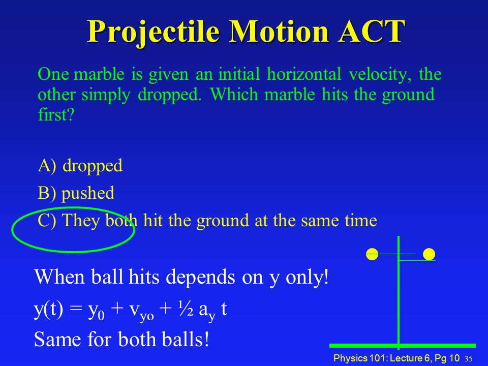 Projectile Motion ACT When ball hits depends on y only!