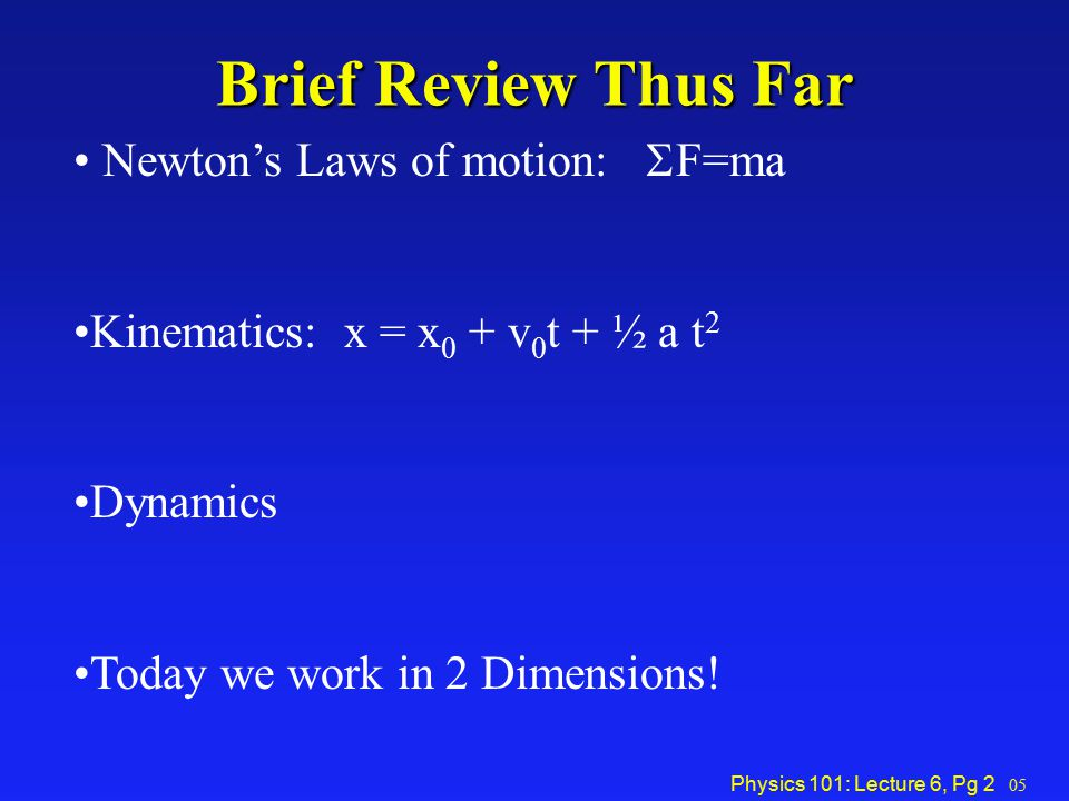 Brief Review Thus Far Newton's Laws of motion: SF=ma